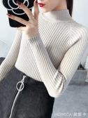 針織上衣 半高領套頭毛衣女韓版短款緊身針織衫加厚打底衫潮