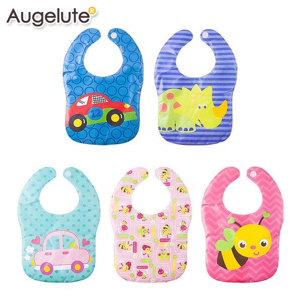 防水圍兜 大口水巾 大圍兜兜 卡通圖案 男寶寶 女寶寶 可反折 Augelute Baby 36062