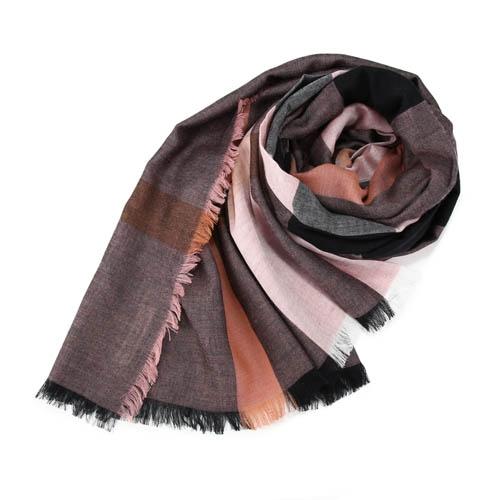 BURBERRY 經典格紋墨代爾羊毛方形大披巾 Antique Rose (復古玫瑰)