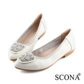 SCONA 蘇格南 全真皮 氣質時尚鑽飾尖頭鞋 白色 31028-2