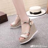 涼鞋女鞋子韓版時尚露趾涼鞋高幫坡跟一字帶扣女鞋子 檸檬衣舍