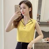 2021夏季新款甜美時尚V領棉麻襯衫女韓版氣質一粒扣無袖上衣小衫 喵小姐