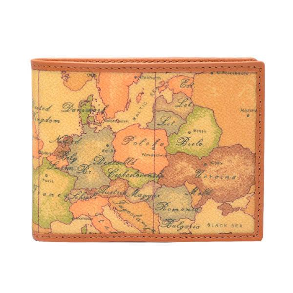 地圖包Alviero Martini-短夾-旅行系列-經典男用12卡+5證件-地圖黃
