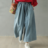純棉牛仔褲 鬆緊腰闊腿褲 老爹褲 九分褲-夢想家-0216