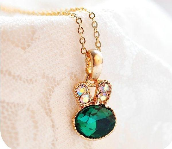 [協貿國際]  兔子水晶可愛短款項鍊鎖骨鏈 (6個價)