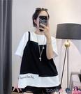 熱賣假兩件上衣 個性黑白拼接假兩件短袖t恤夏季新品女學生韓版寬鬆ins圓領上衣潮 coco