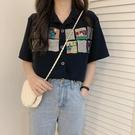 短袖襯衫女設計感小眾夏季薄款鹽系polo衫復古港風V領上衣潮顯瘦