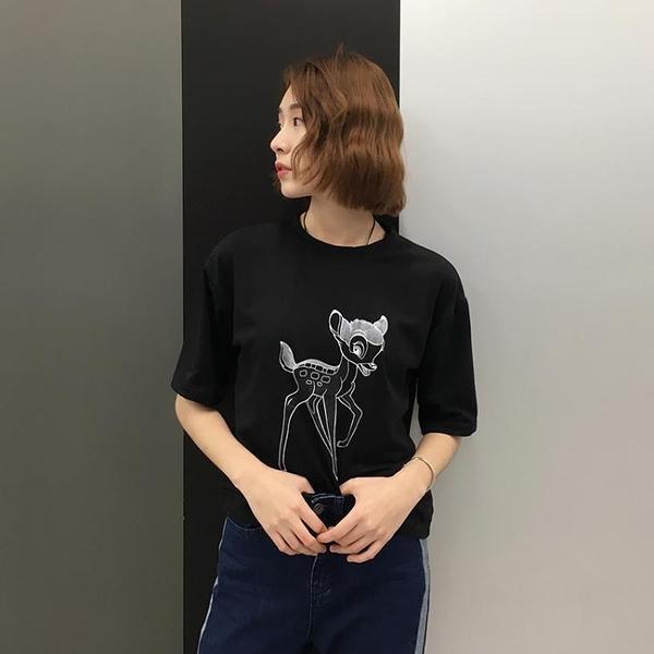 [超豐國際]學院風寬松復古卡通印花圓領短袖T恤女學生休閑上衣1入