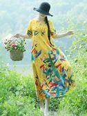 棉麻連衣裙女民族風女裝2018夏裝新款寬鬆大碼長款微胖mm短袖裙子