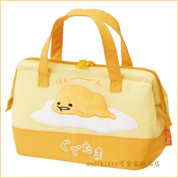 asdfkitty可愛家☆蛋黃哥寬口拉鍊輕量保溫便當袋/手提袋/購物袋-也可保冷-日本正版商品