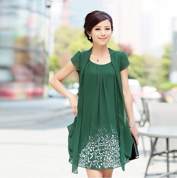 卡樂color..中大尺碼媽媽節禮物韓版短袖雪紡洋裝 4色 M-4XL #lady6661