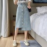 牛仔裙 夏季不規則牛仔裙半身裙女夏裙子中長款設計感高腰A字裙 芊墨左岸