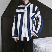 長袖襯衫男士韓版寬松衣服原宿風條紋翻領襯衣潮流 時尚教主