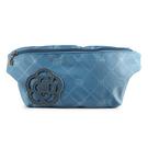 CLATHAS山茶花吊飾菱格紋尼龍腰包(藍色)201005-82