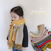 兒童圍巾冬保暖雙面仿羊絨彩豆男童女童時尚百搭兒童圍脖小孩圍巾