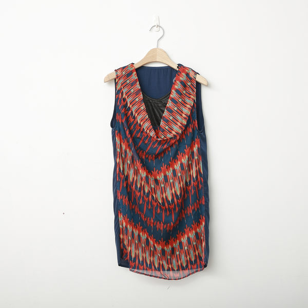 【2%】 間隔刷色兩件式雪紡洋裝