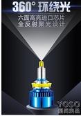 汽車LED燈 360度汽車LED大燈泡近光燈遠光燈12V改裝超亮強光H1H7H1190059012 618大促銷