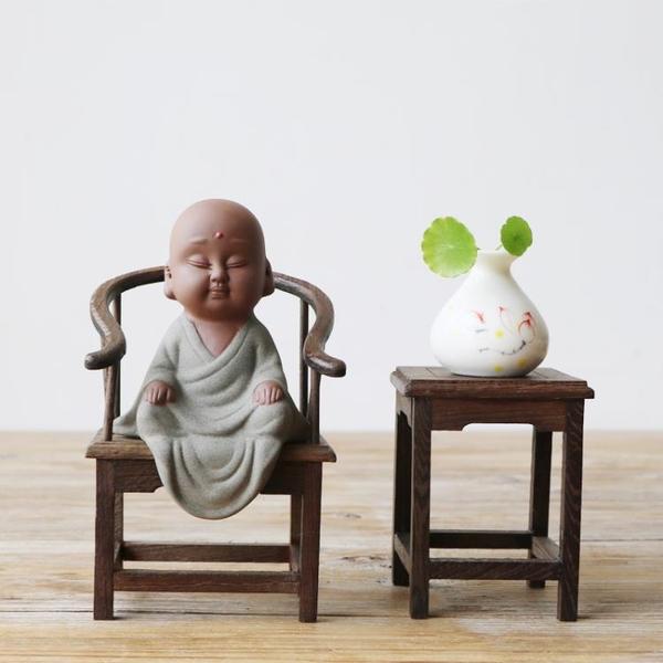 茶寵擺件中式禪意紫砂小和尚精品可養創意茶具茶藝六度小沙彌茶玩1入