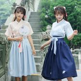 中國風原創傳統日常漢服女復古繡花交領襦裙短袖套裝【店長推薦】