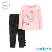 【美國 carter s】 粉紅恐龍2件組套裝
