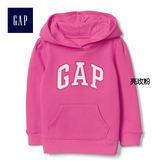 Gap女嬰幼童 Logo基本款連帽長袖休閒上衣 851512-亮玫粉