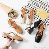 包頭涼鞋女夏季新款中跟復古方頭奶奶鞋一字扣粗跟仙女高跟鞋 薔薇時尚