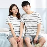 夏季情侶睡衣卡通少女短袖加大尺碼男士家居服套裝休閒外穿