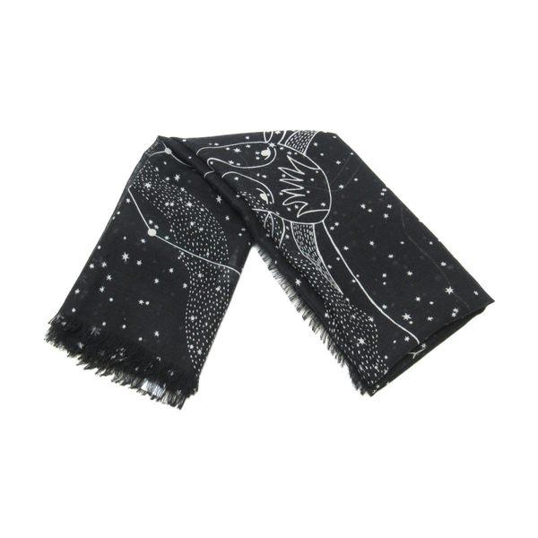 Dior 迪奧 黑底白色牧羊座圖樣羊毛真絲圍巾大方巾 【二手名牌BRAND OFF】