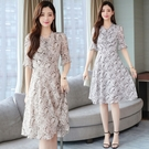 短袖洋裝輕熟風雪紡有氣質的連身裙夏季新款...
