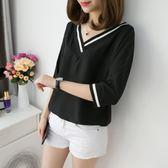 夏裝2019新款韓版短袖T恤女V領胖MM寬鬆大碼顯瘦遮肚百搭半袖上衣『艾麗花園』