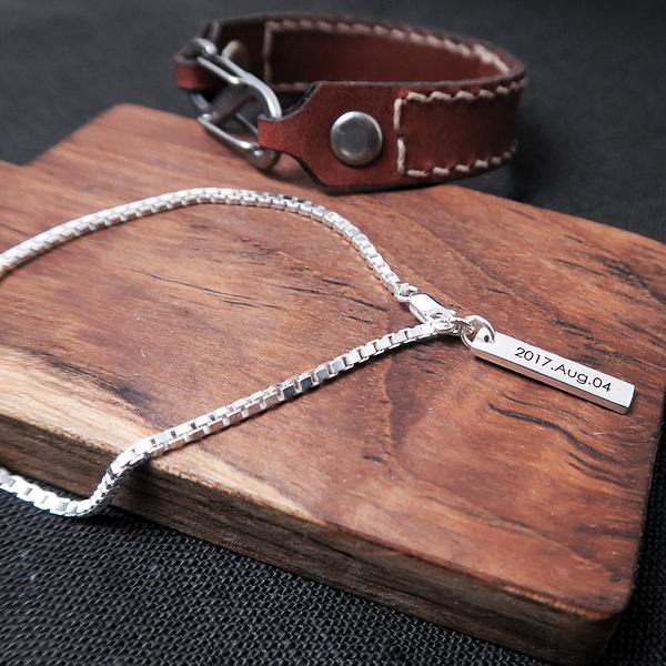 神秘方盒MEMO手鍊-925純銀訂製刻字手鍊