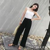 大尺碼寬褲 新款九分高腰復古溫柔風墜感寬鬆休閒褲 QQ7416『MG大尺碼』
