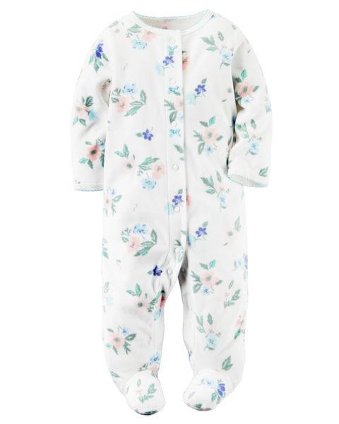 【美國Carter's】長袖包腳保暖連身衣 - 花卉系列 115G155