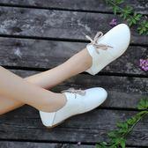 娃娃鞋 平底女小白鞋系帶軟面小皮鞋