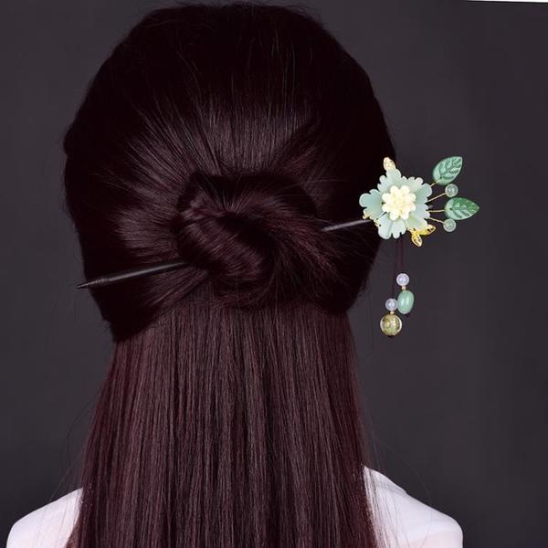 中式復古風髪簪女旗袍漢服古裝飾品配飾琉璃花盤髪簪子頭飾仙 髪插