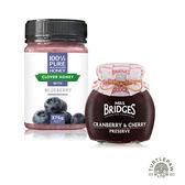 【 紐西蘭恩賜】藍莓三葉草蜂蜜1瓶(375公克) +【MRS. BRIDGES】英橋夫人蔓越莓櫻桃果醬(大)340g