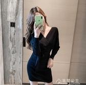 針織裙性感女裝秋裝新款V領針織洋裝蝙蝠袖收腰綁帶包臀毛衣短裙 快速出貨