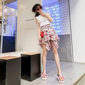 夏季款小清新無袖字母t恤套裝女學生格紋不規則半身裙兩件套潮