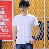 夏季新款男士短袖t恤圓領純色體恤打底衫韓版半袖黑白潮衣服 薔薇時尚
