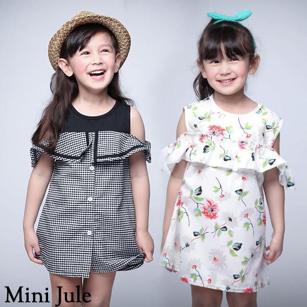 童裝 洋裝 格紋翻領露肩/彩花荷葉領後單釦短袖洋裝(共2款)