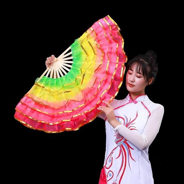 舞蹈扇子一對跳舞扇廣場舞扇子雙面扇兒童成人左右手膠州秧歌扇子 - 古梵希