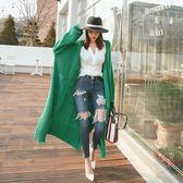 梨卡 - 韓國秋冬寬鬆前口袋針織超長版加厚針織毛衣外套B681