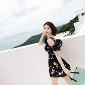 泳衣女保守 連身裙式遮肚顯瘦小胸聚攏 韓國小清新學生溫泉游泳裝 卡布奇诺