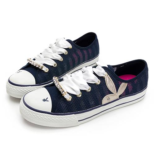 PLAYBOY浪漫縷空可拆鞋釦休閒鞋-藍(Y6202)