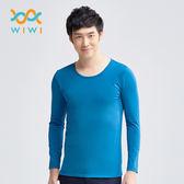【WIWI】MIT溫灸刷毛圓領發熱衣(翡翠藍 男S-3XL)