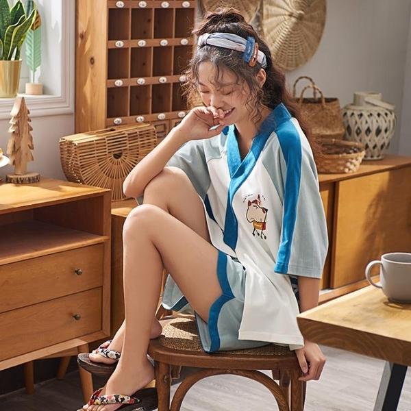 浴袍 睡衣女夏季薄款純棉短袖短褲日式和服可愛學生女士兩件套裝家居服 玫瑰
