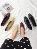 單鞋子女韓版百搭淺口晚晚鞋平底尖頭學生奶奶鞋 三角衣櫃