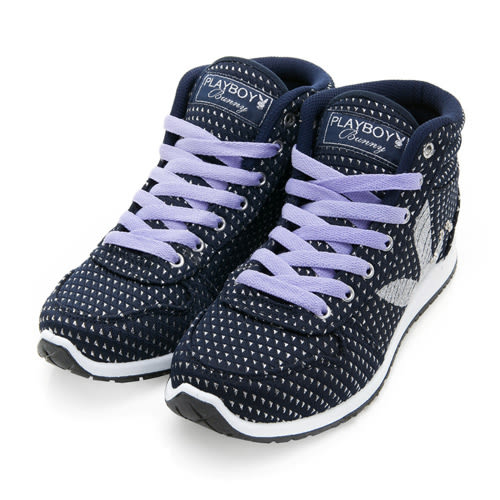 PLAYBOY 街頭玩美 銀蔥高筒內增高休閒鞋-藍