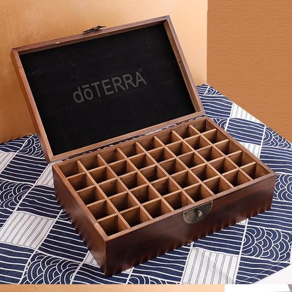 精油盒 doterra精油盒子收納盒 木制40格多功能精致多特瑞整理實木盒 智慧 618狂歡