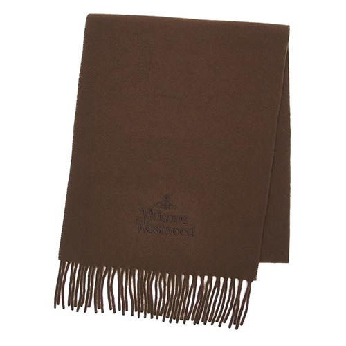Vivienne Westwood 經典LOGO 素面圍巾(咖啡色)910511-54